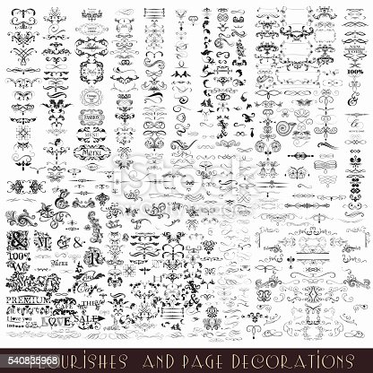 istock Collection or mega set of vector decorative flourishes and calligraphic 540835958