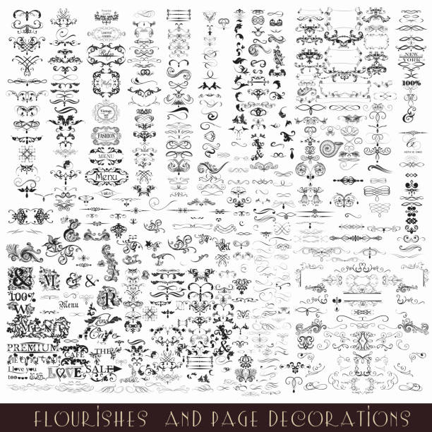 stockillustraties, clipart, cartoons en iconen met collection or mega set of vector decorative flourishes and calligraphic - tekstornament