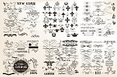 Collection or set of vector vintage flourishes for design in antique style. Huge pack