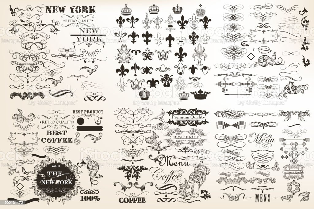 Collection ou un ensemble d'ornements vintage vector pour la conception de style antique. Pack énorme - Illustration vectorielle