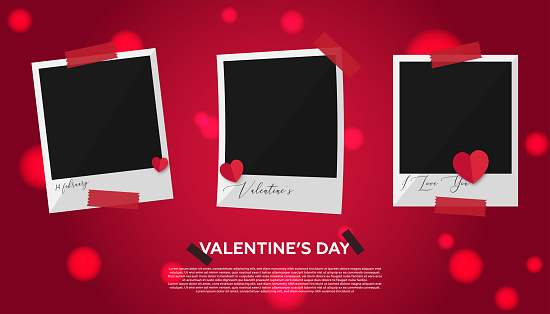 Collection photo frame - Valentine's Day Concept. Red background and heart shapes.