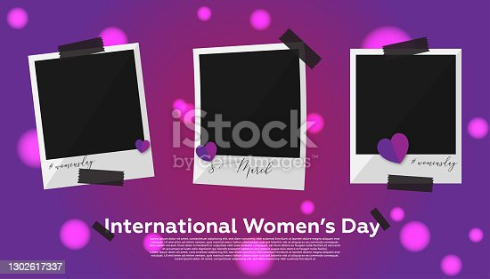istock Collection photo frame - Women's Day Concept. Purple background and heart shapes. 1302617337