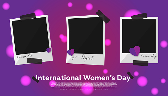 Collection photo frame - Women's Day Concept. Purple background and heart shapes.