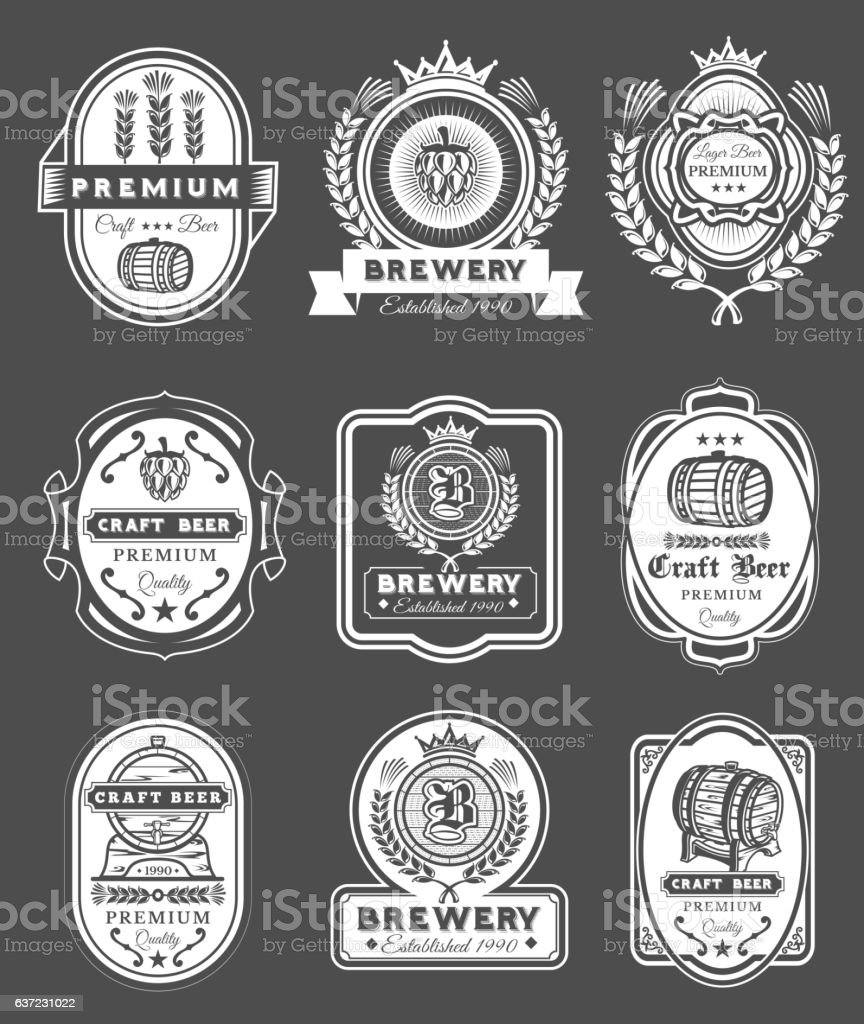 Collection retro beer emblems, badges, stickers vector art illustration