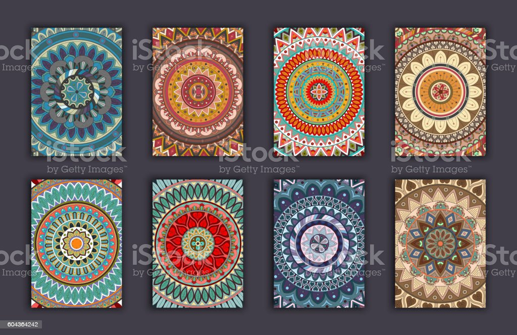 Collection retro cards. Ethnic backgrounds. Card of invitation. vector art illustration