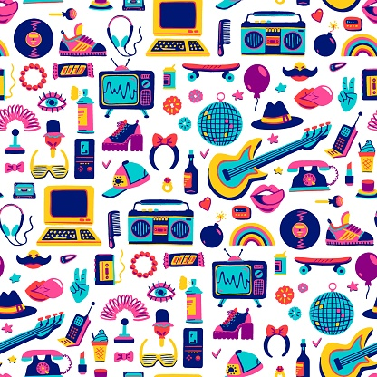 Collection retro icons elements in trendy 80s-90s goods hand-drawn cartoon style. Vector