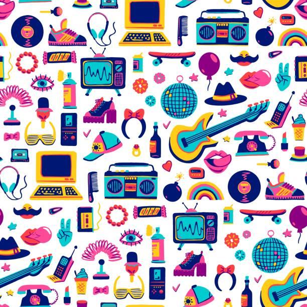 stockillustraties, clipart, cartoons en iconen met collectie retro iconen elementen in trendy jaren '80-jaren '90 goederen met de hand getekende cartoon stijl. vector - 20e eeuw