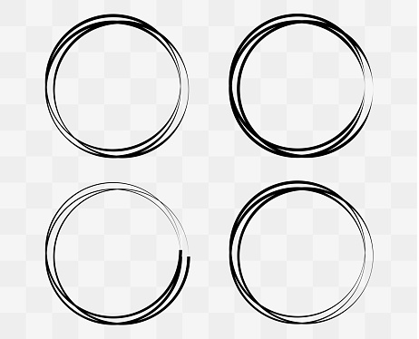 Collection round frames. Circle for text. Vector flat illustration. Round black borders.