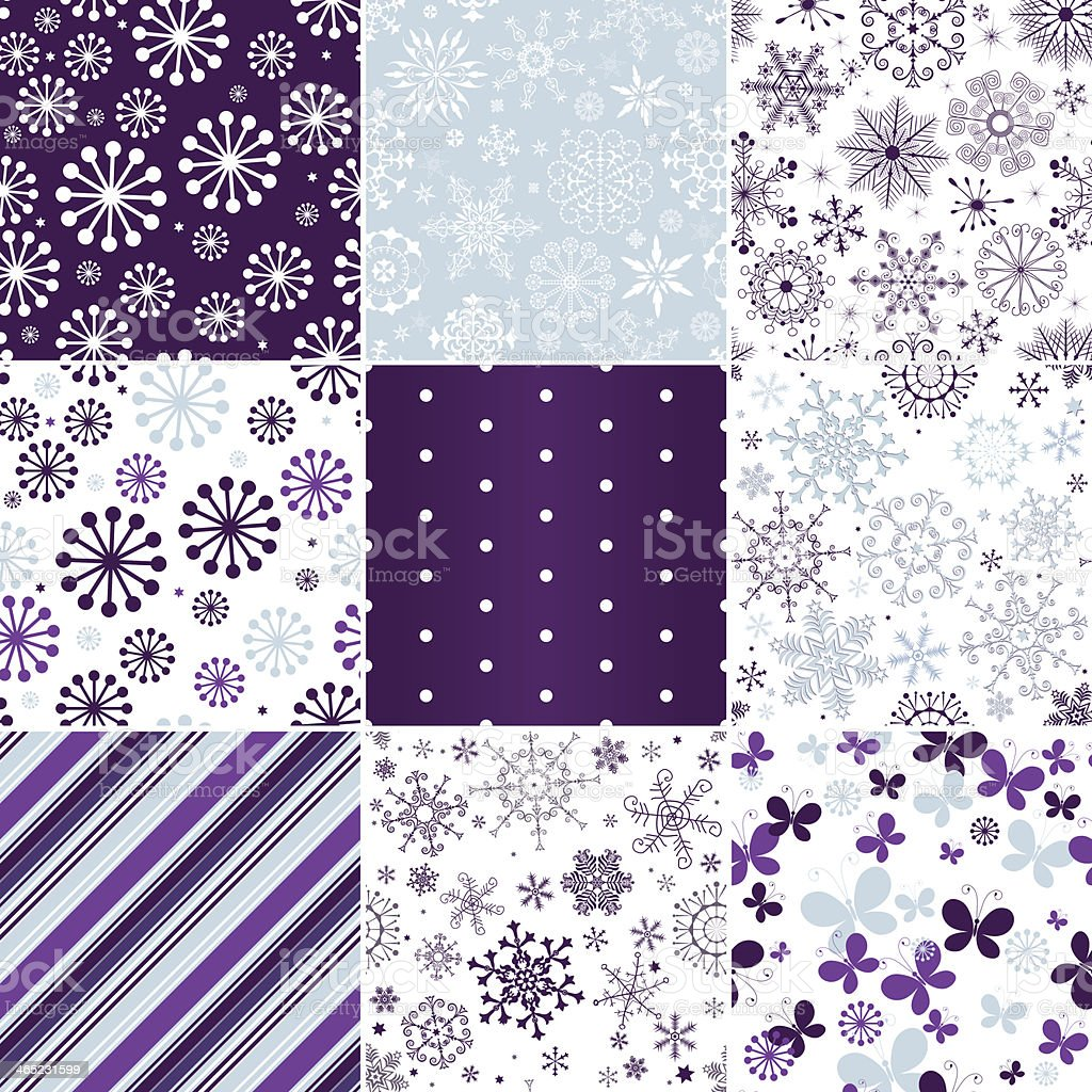 Collection seamless christmas patterns royalty-free stock vector art