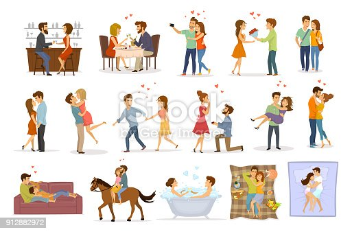 istock collection set of couples in love on a date hug embrace kiss hold hand take bath, horse riding, giving flowers, marriage proposal, walk, sleep, eating in restaurant and drink in bar 912882972