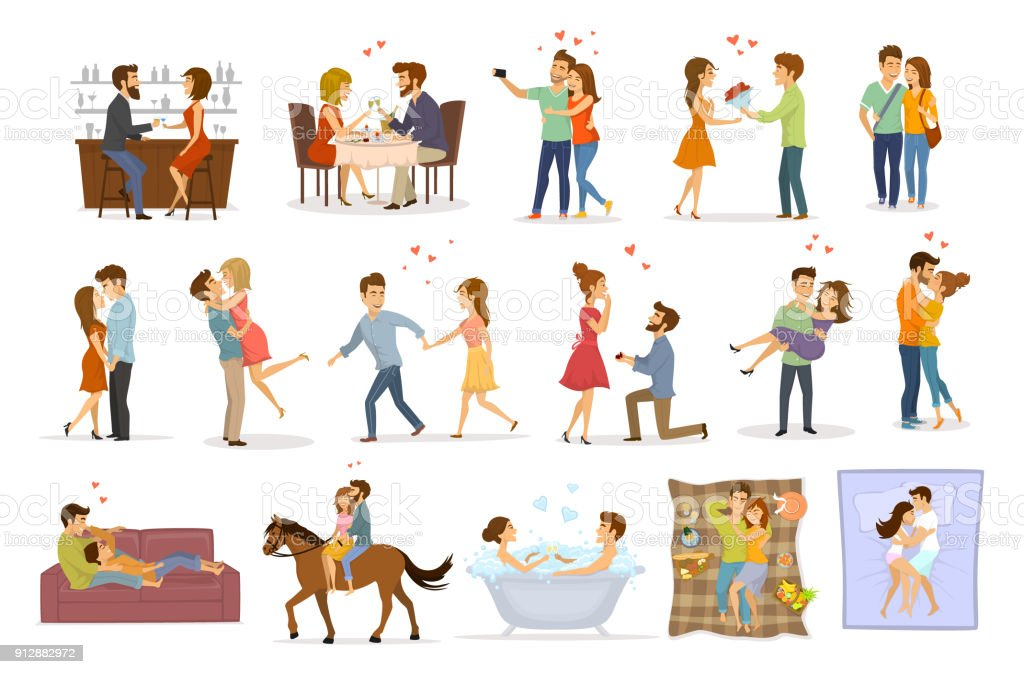 collection set of couples in love on a date hug embrace kiss hold hand take bath, horse riding, giving flowers, marriage proposal, walk, sleep, eating in restaurant and drink in bar vector art illustration