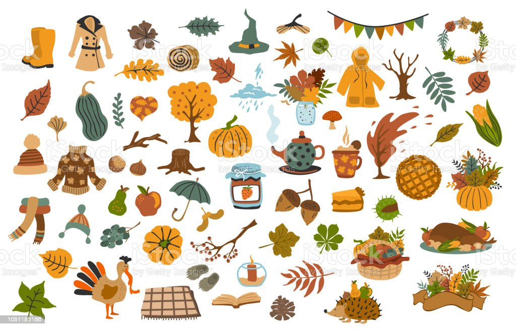 collection set  of cute drawn autumn fall thanksgiving seasonal items collection set  of cute drawn autumn fall thanksgiving seasonal items Acorn stock vector