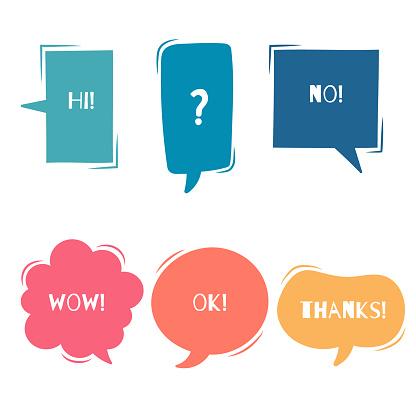 collection set of cute, sweet hand drawn blank speech bubble balloon think speak talk template text box banner frame