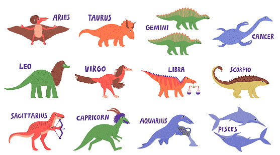 Collection set of hand drawn astrological signs dinosaurs isolated on white