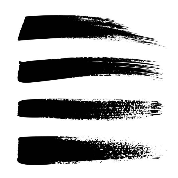Collection set of hand drawn strokes in marker brush doodle style. Grunge brushes. Black and white background. vector art illustration