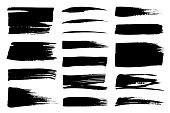 istock Collection set of hand drawn underline and strokes in marker brush doodle style. Grunge brushes. Black and white background. 1213666306