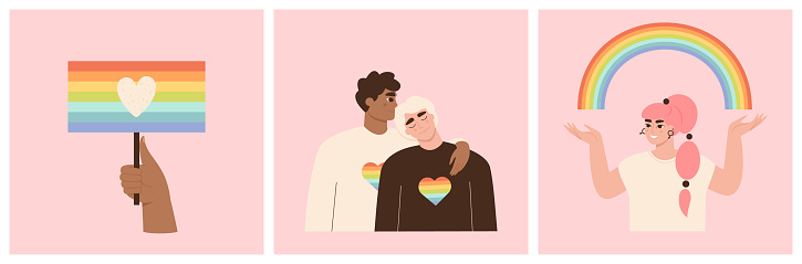 LGBT collection. Set of illustrations about gay relationship, homosexual people, pride parade. LGBTQ movement concept. Hand holding a flag. Rainbow, heart symbols.