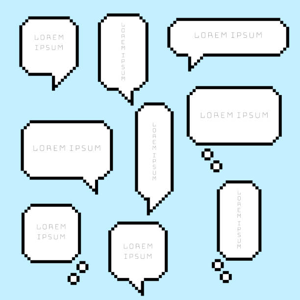 collection set of retro 8 bit pixel sweet cute speech bubble balloon think,speak,talk,template,art collection set of retro 8 bit pixel sweet cute speech bubble balloon think,speak,talk,template,art,flat,design,vector,illustration text box banner frame  sign number 8 stock illustrations