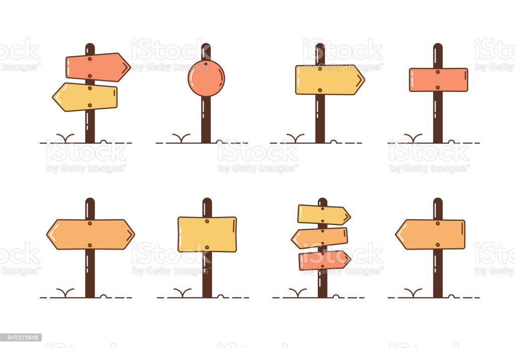 Collection set of wooden direction posts. Vector illustration icons with different roadpost styles. vector art illustration