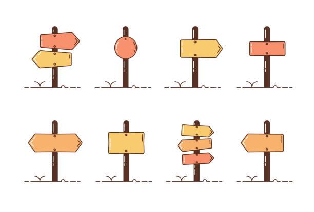集木制方向的柱子。帶有不同 roadpost 樣式的向量插圖圖示。 - 方向標誌 幅插畫檔、美工圖案、卡通及圖標