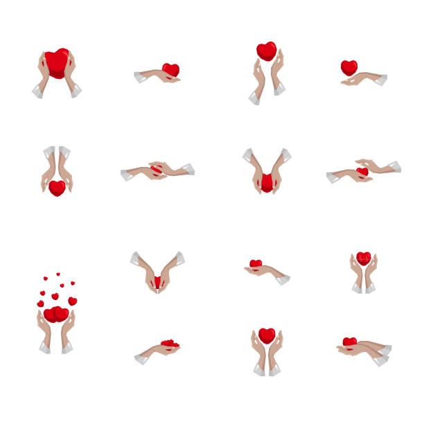 stockillustraties, clipart, cartoons en iconen met collectie, set met hart symbolen in de hand, teken, icoon, logo sjabloon voor het goede doel, gezondheidszorg, vrijwillige, non-profit organisaties, geïsoleerd op witte achtergrond, vector illustratie eps 10 - non profit