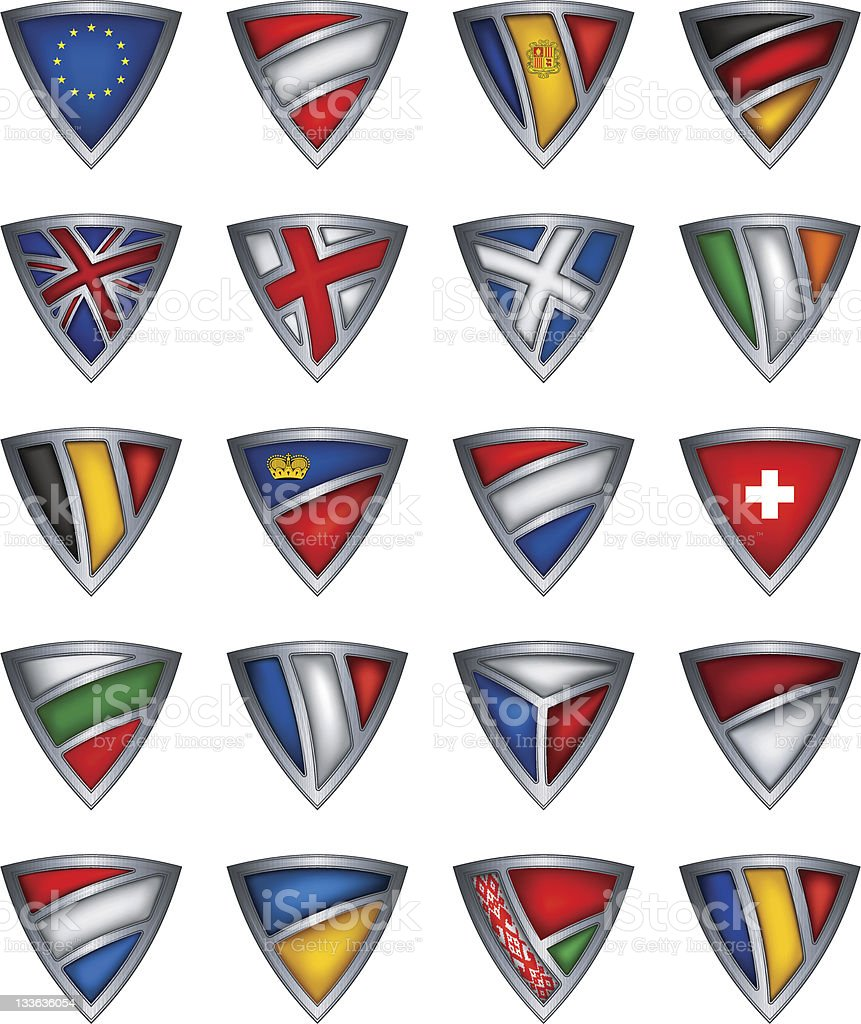 Collection shield with flag of the Europe royalty-free stock vector art