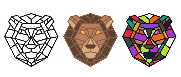Collection silhouettes of lion head from lines in geometric polygonal style isolated on white background. Modern graphic design element for label, print or poster. Vector art illustration.