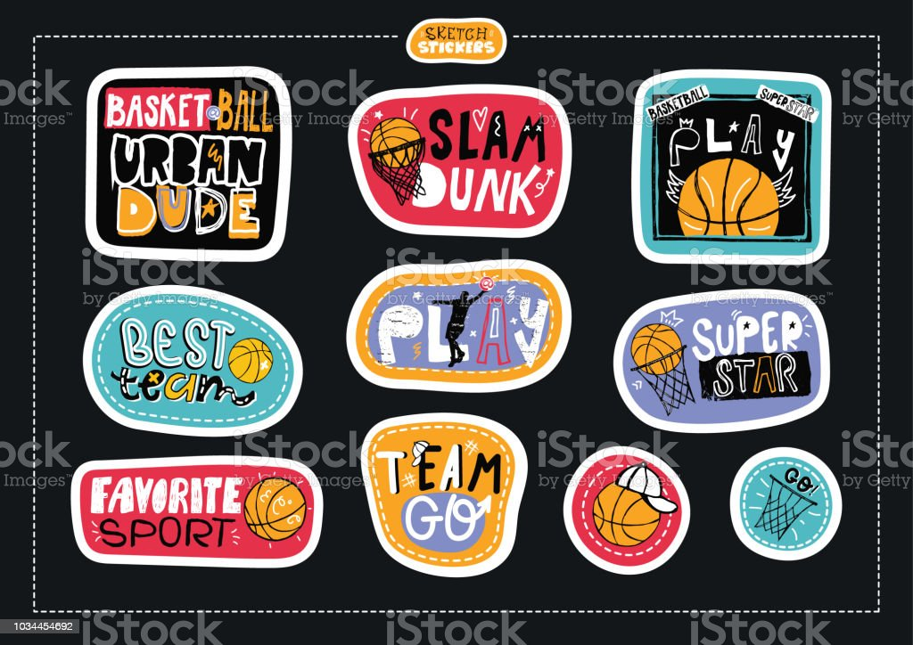 Collection sketch, hand drawing stickers, fashion illustrations for basketball, motivation. Print design boy for textiles, scrapbook, slogan, sport typography, urban dude, play, slam dunk, team go.