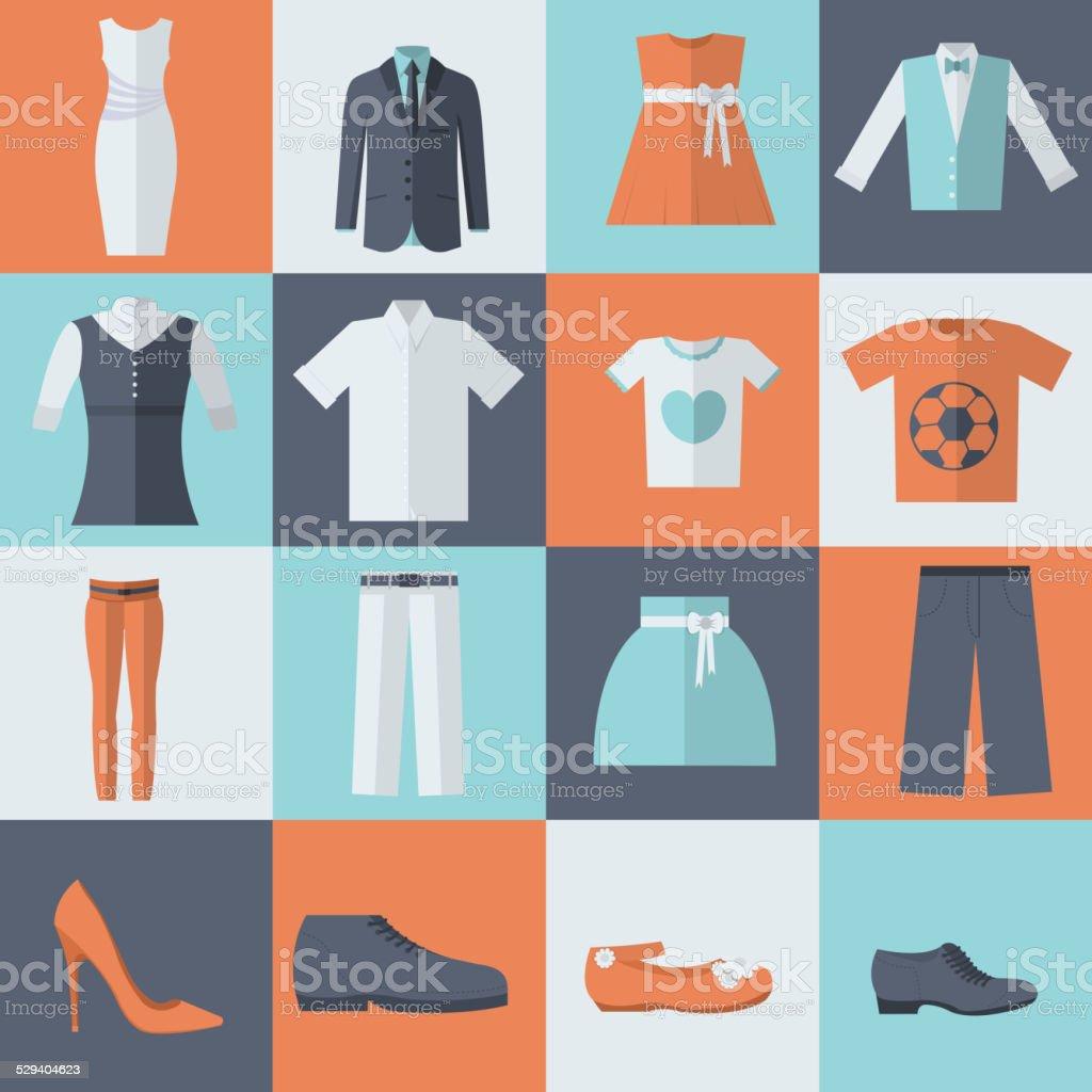 collection Stil Mode Kleidung für Familien-icon set Hintergrund Konzept – Vektorgrafik