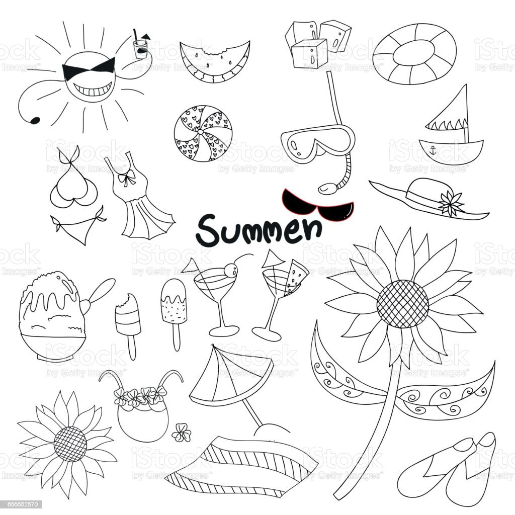 collection summer time doodle hand draw vector illustration stock