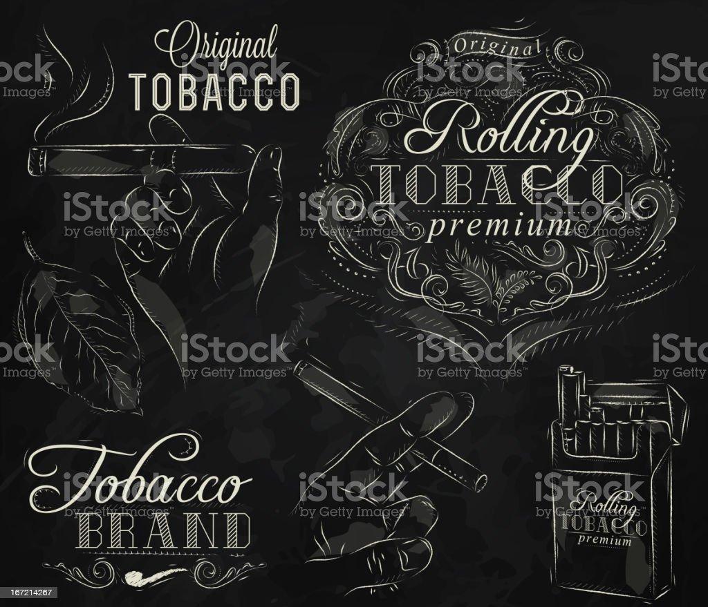 Collection tobacco chalk vector art illustration