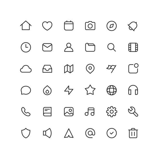 ilustrações, clipart, desenhos animados e ícones de ícones de contorno de interface de usuário de coleção - user line icon