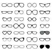 Collection various styles of fashion glasses solid black silhouette vector