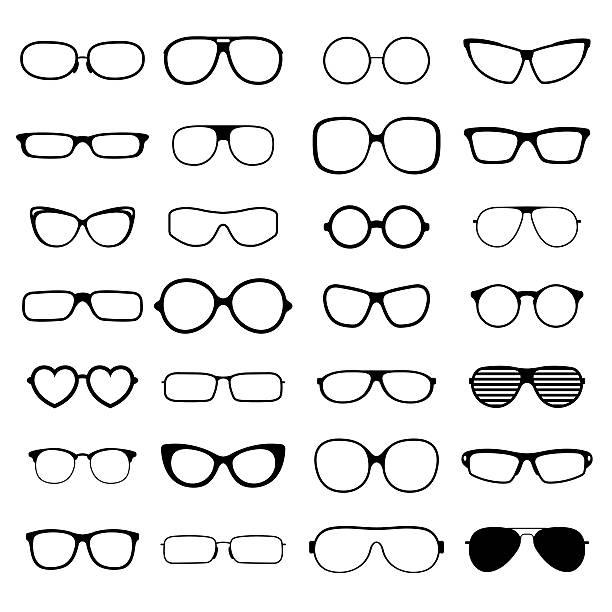 sammlung von verschiedenen arten von modischen brille, schwarz silhouette vektor - palettenbilderrahmen stock-grafiken, -clipart, -cartoons und -symbole