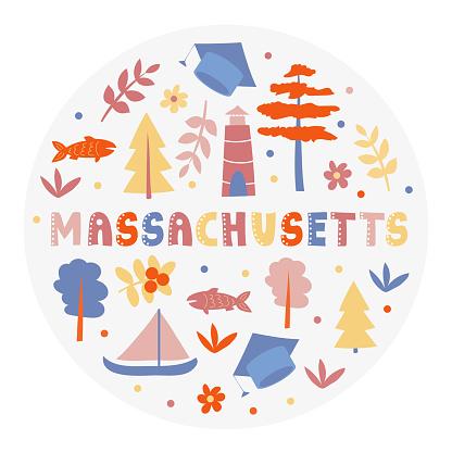 USA collection. Vector illustration of Massachusetts theme. State Symbols