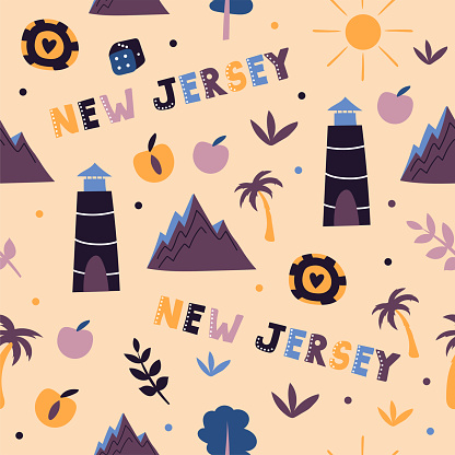 USA collection. Vector illustration of New Jersey theme. State Symbols