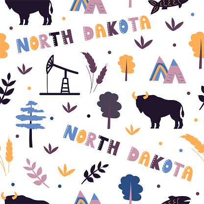 USA collection. Vector illustration of North Dakota theme. State Symbols