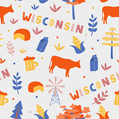 USA collection. Vector illustration of Wisconsin theme. State Symbols