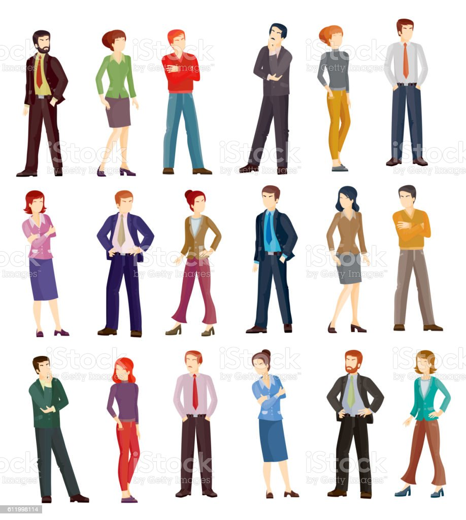 Collection vector illustrations of business people - Illustration vectorielle