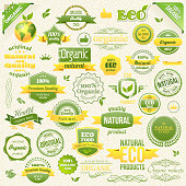 Collection Vector Organic Food, Eco, Bio Labels and Elements. Logo