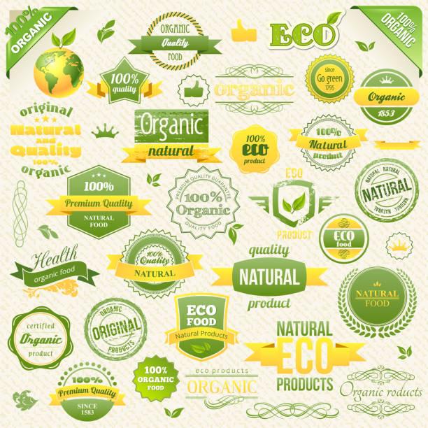 kollektion von vektor-bio-lebensmittel, öko, bio-etiketten und elementen. logo - bio lebensmittel stock-grafiken, -clipart, -cartoons und -symbole