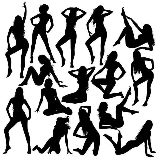 collection vector silhouettes of beautiful women. Many black vector silhouettes of beautiful women. Vector sexy girl in bikini swimsuit. Slim body full-length, sitting, lying down illustration of attractive young women. sensuality stock illustrations