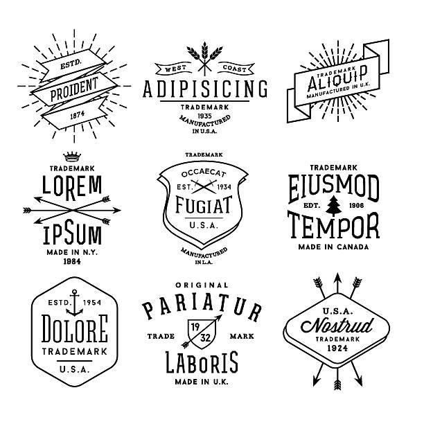 ilustraciones, imágenes clip art, dibujos animados e iconos de stock de colección de etiquetas vintage - tatuajes náuticos
