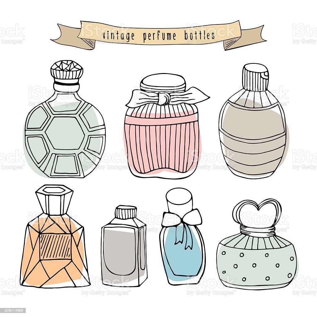 Coleção vintage de frascos de perfume Isolado no branco. - ilustração de arte em vetor