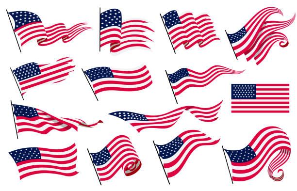 коллекция размахивая флагами соединенных штатов америки. иллюстрация волнистых американских флагов. национальный символ, американские фл - american flag stock illustrations