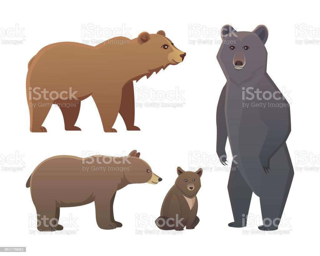 Vetores De Colecao Com Diferentes Desenhos Animados De Ursos Isolado No Fundo Branco Vector Broun E Urso Preto Americano Definir Vida Selvagem Ou Zoologico Urso Pardo E Mais Imagens De Agressao