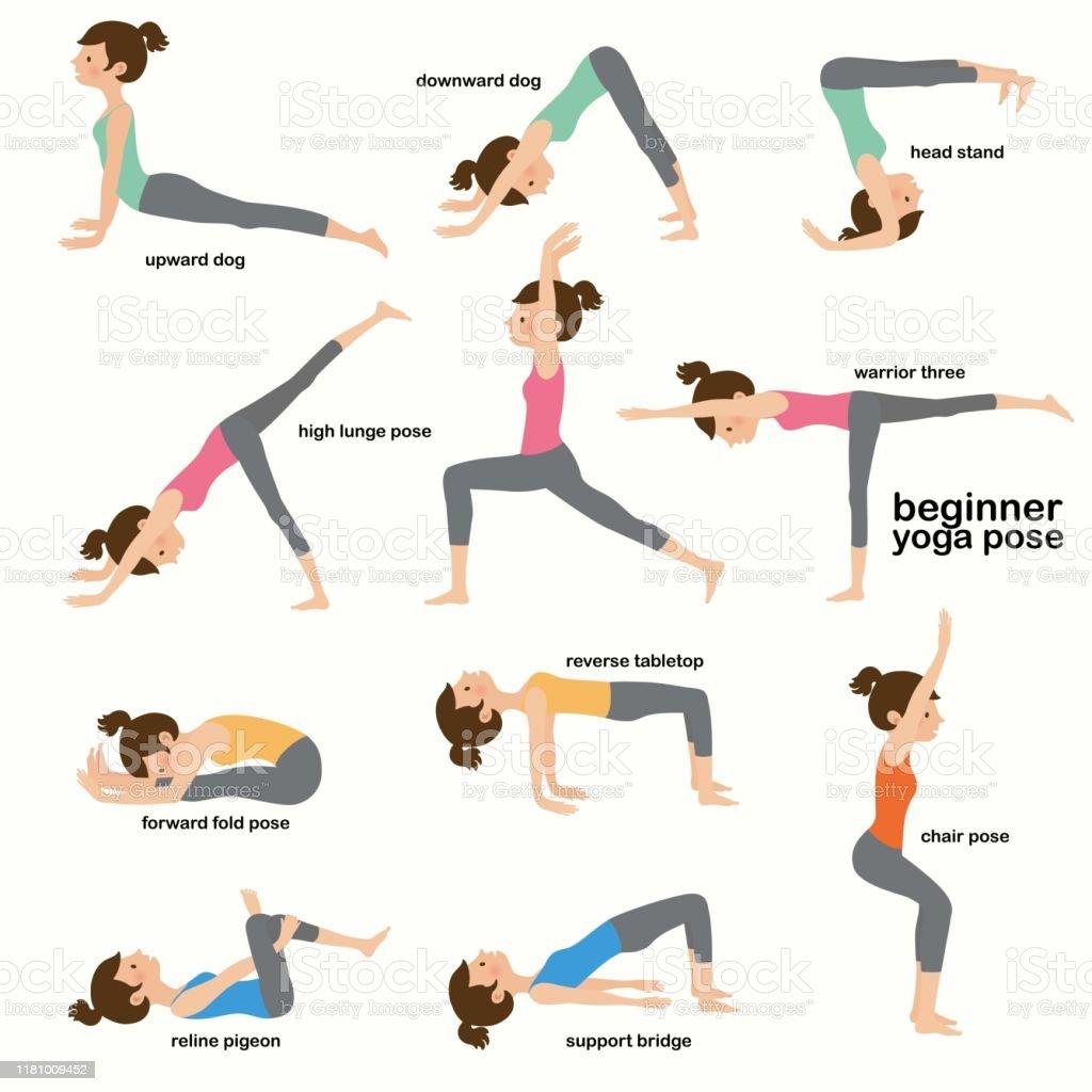 Sammlung Yoga Frau Pose Übungen Flache Vektorillustration Stock ...