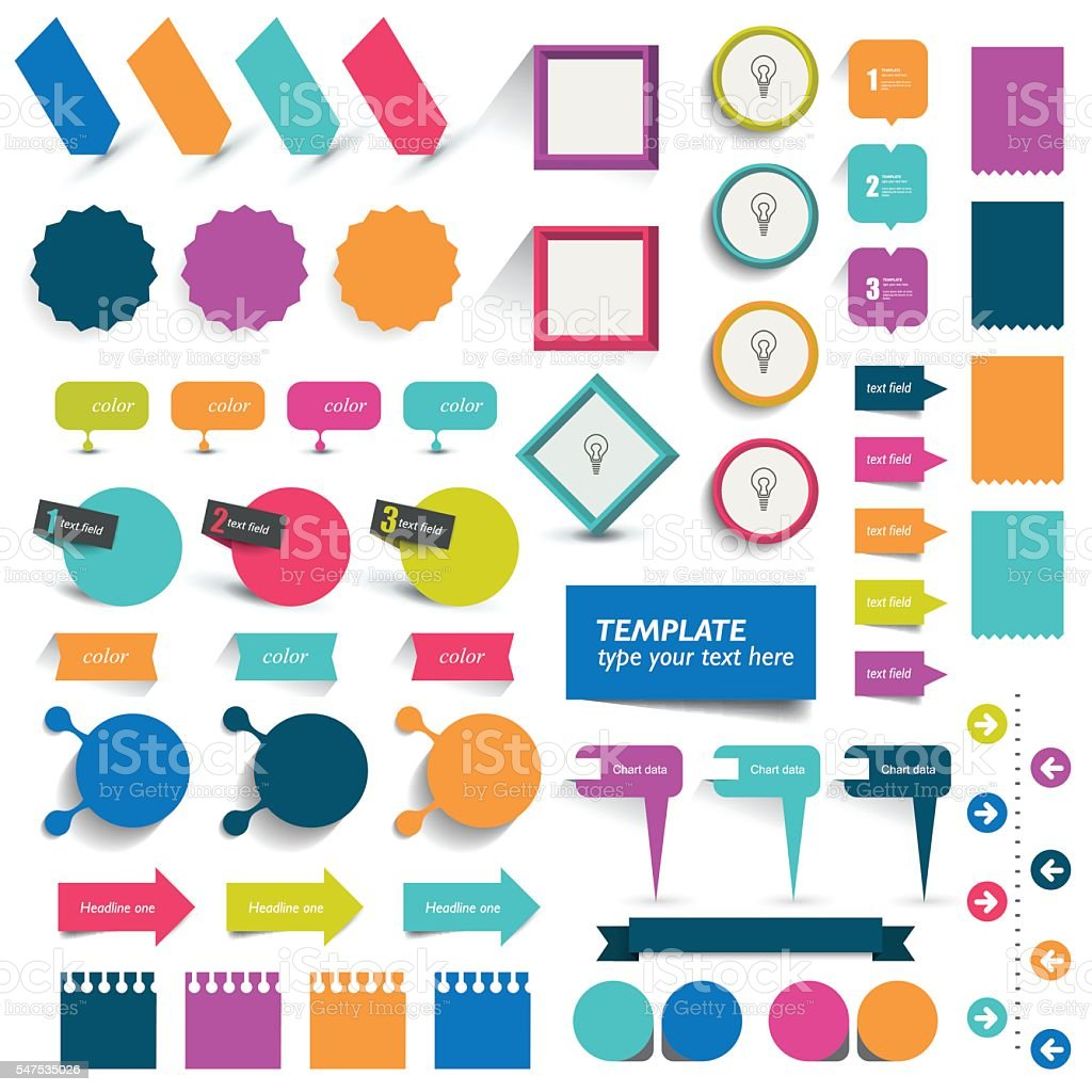 Collections of infographics flat design elements. Vector illustration. vector art illustration