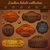 A collections of leather labels describing leather quality