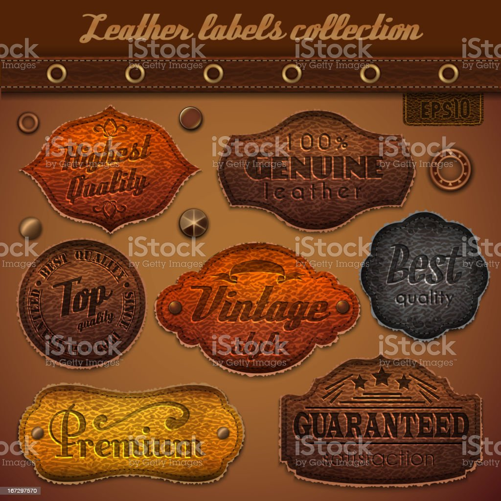 A collections of leather labels describing leather quality vector art illustration